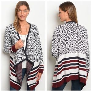 NEW navy, burgundy thick sweater cardigan